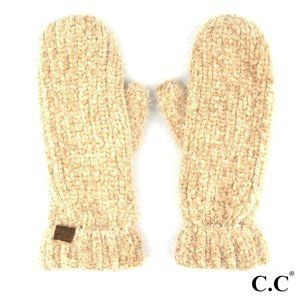NWT *BOUTIQUE*  SOFT CHENILLE MITTENS    TAUPE